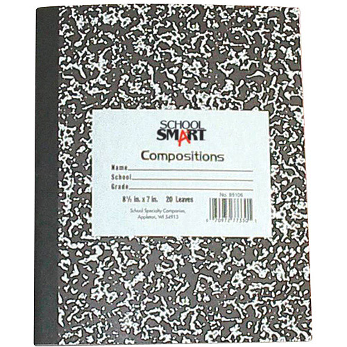 "School Smart Marble Back Composition Book, Hard Cover, 100 Sheets, 9.75"" x 7.5"""