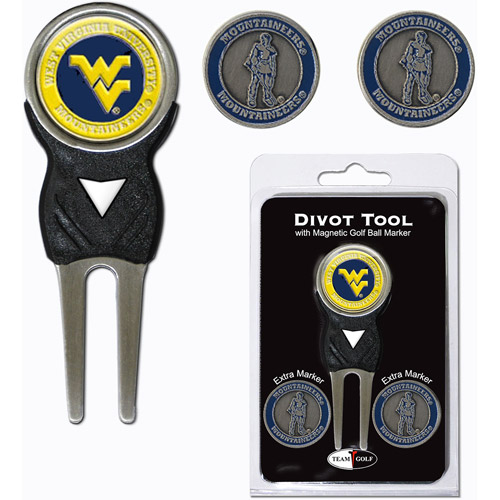 Team Golf NCAA West Virginia Divot Tool Pack With 3 Golf Ball Markers