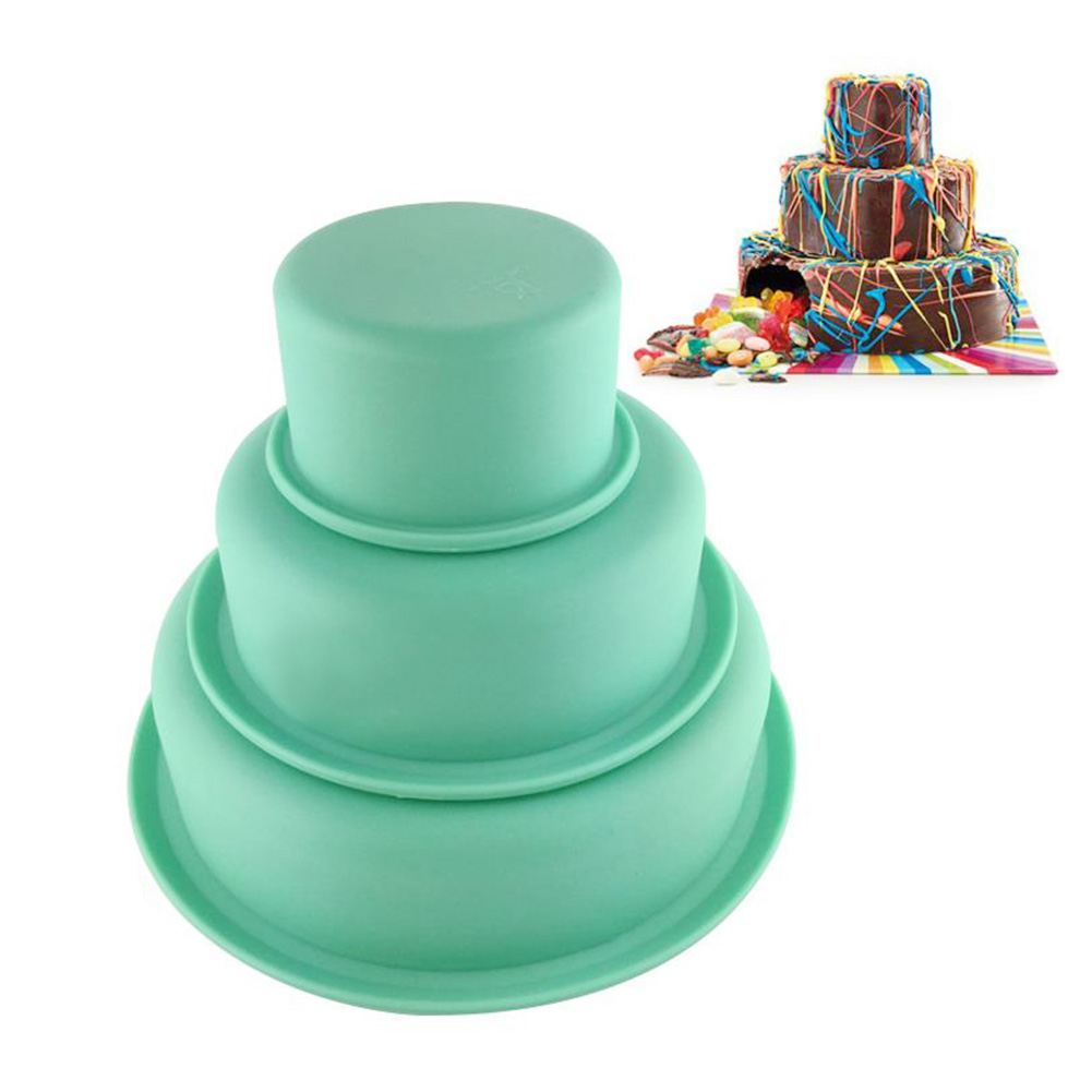 3 Tier Round Cake Mold Layer Cake Mold Bakeware Set for Birthday Party Wedding Anniversary by