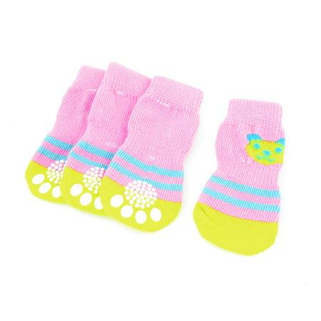 4 x Striped Pattern Nonslip Soft Warm Pet Dog Doggy Socks Pink Yellow Size - Warm Stripe Pattern