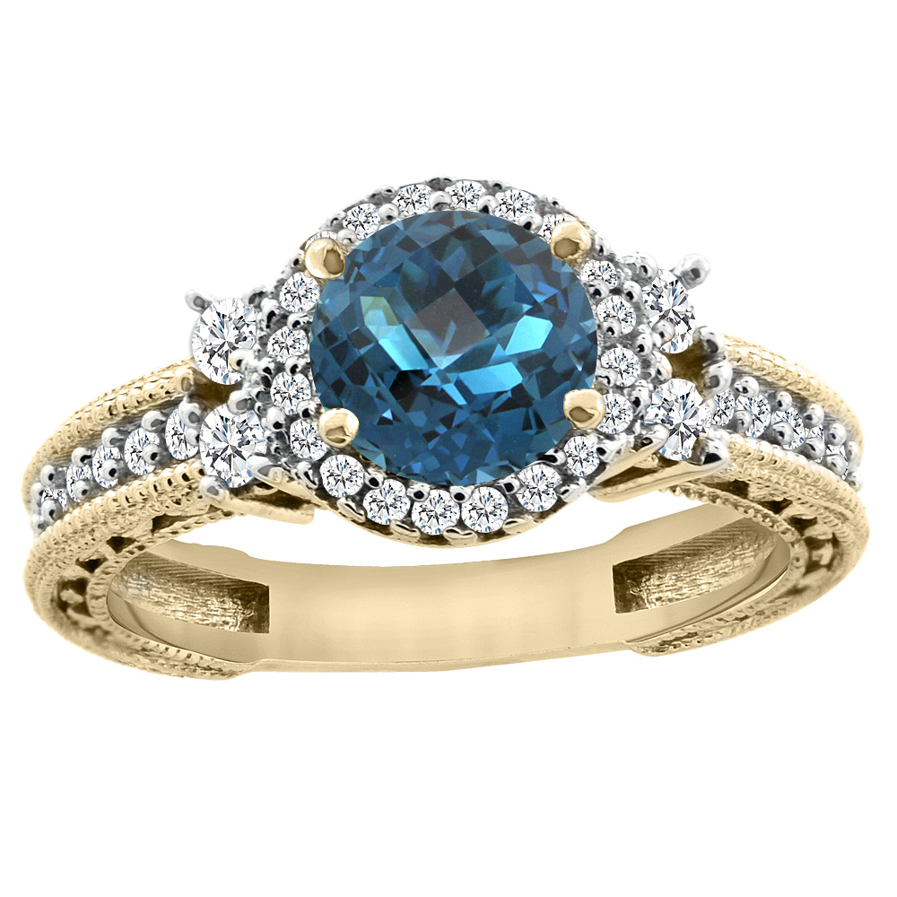 14K Yellow Gold Natural London Blue Topaz Halo Engagement Ring Round 6mm Diamond Accents, size 5 by Gabriella Gold