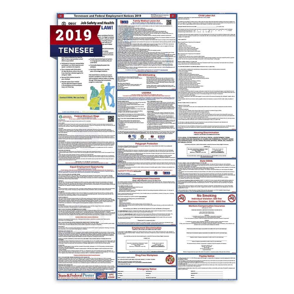 2019 Tennessee State and Federal Labor Law Poster (Laminated)