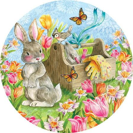 Custom Decor Accent Magnet - Garden Bunny
