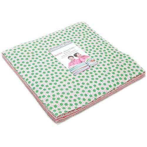 Red Dot Green Dash Brushed Layer Cake 42 10-inch Squares Moda Fabrics