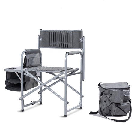 Folding Compact Director's Chair Aluminum Cup Holder Side Table Cooler Bag - image 1 of 10
