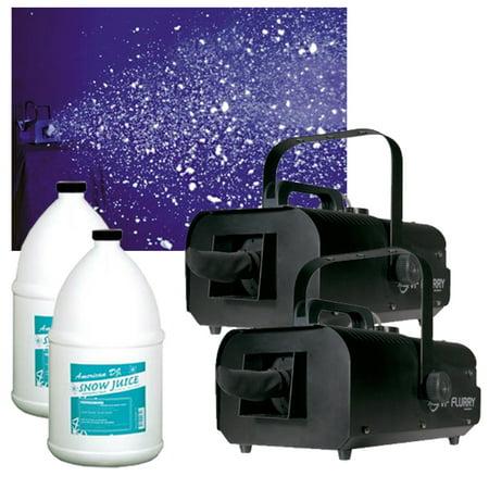 (2) American DJ VF Flurry Hiigh Output 600W Snow Machine (2) Gallon Fluid New