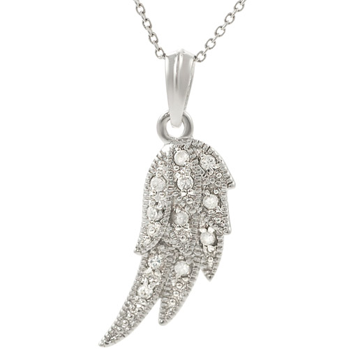 """Alexandria CZ Sterling Silver Angel Wing Pendant, 18"""""""
