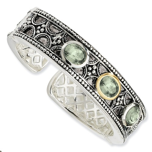 Sterling Silver with 14k Yellow Gold 8.1 Green Amethyst Cuff Bracelet