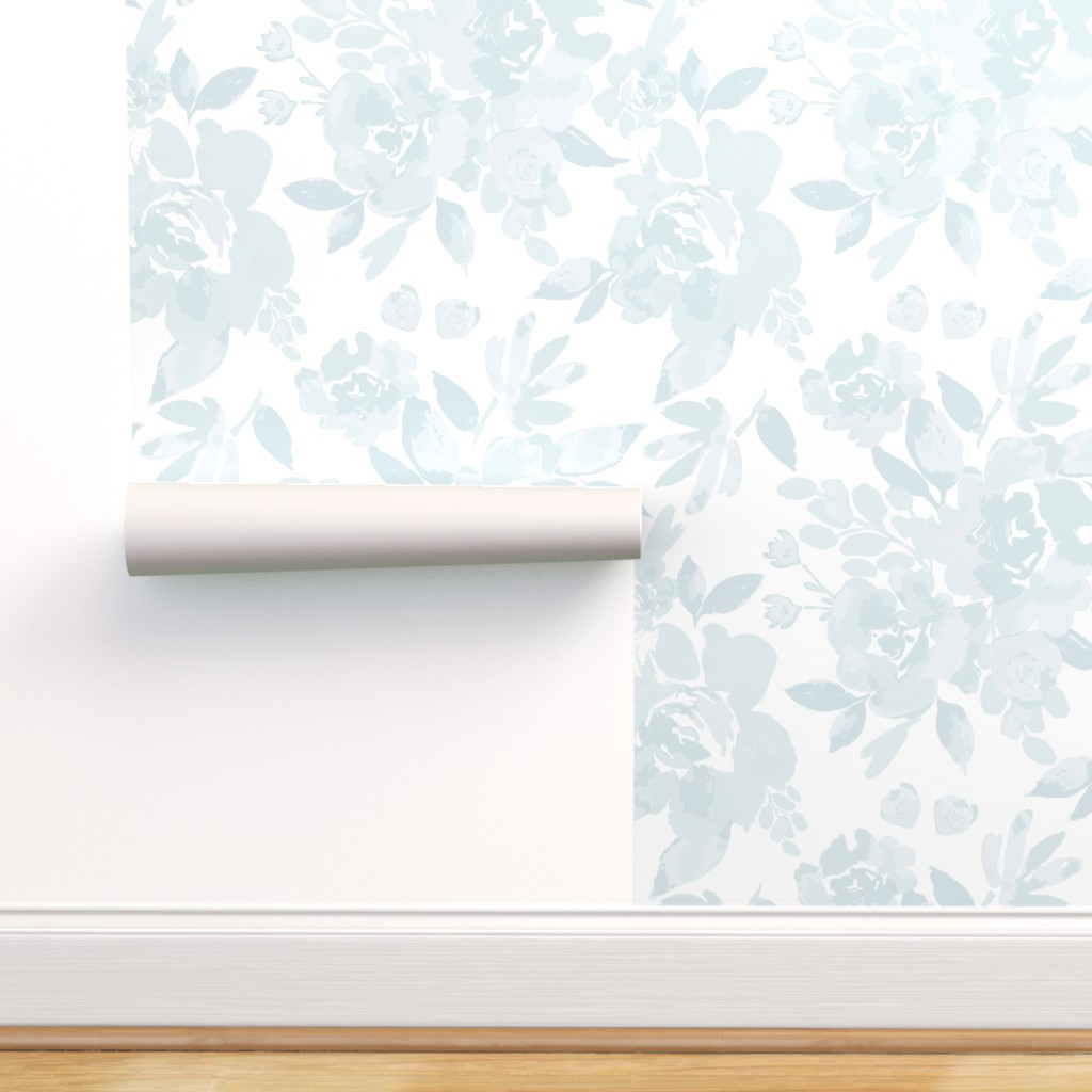 Peel And Stick Removable Wallpaper Floral Blue White Vintage Home