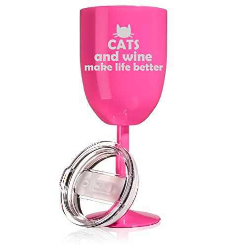 14 oz Double Wall Vacuum Insulated Stainless Steel Wine Tumbler Glass with Lid Cats And Wine Make Life Better (Hot Pink)