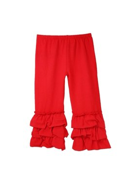 Girls Red Triple Tier Ruffle Cuffed Cotton Spandex Pants 12M-7