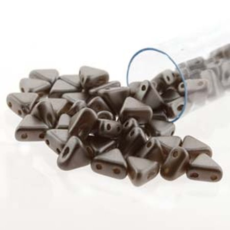 Fashion Jewelry Coco Beads - Pastel Light Brown Coco 9 Gram Kheops Par Puca 6mm 2 Hole Triangle Czech Glass, Loose Beads,