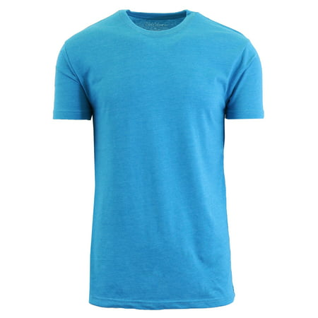 Mens Crew Neck Heather Colored Tees Aqua Burnout T-shirt