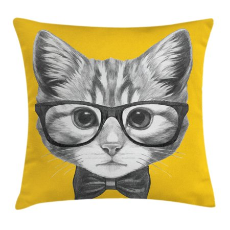 Animal Decor Throw Pillow Cushion Cover, Sketchy Hand Drawn Design Baby Hipster Cat Cute Kitten with Glasses Image, Decorative Square Accent Pillow Case, 16 X 16 Inches, Black and White, by Ambesonne Cute Cat Images