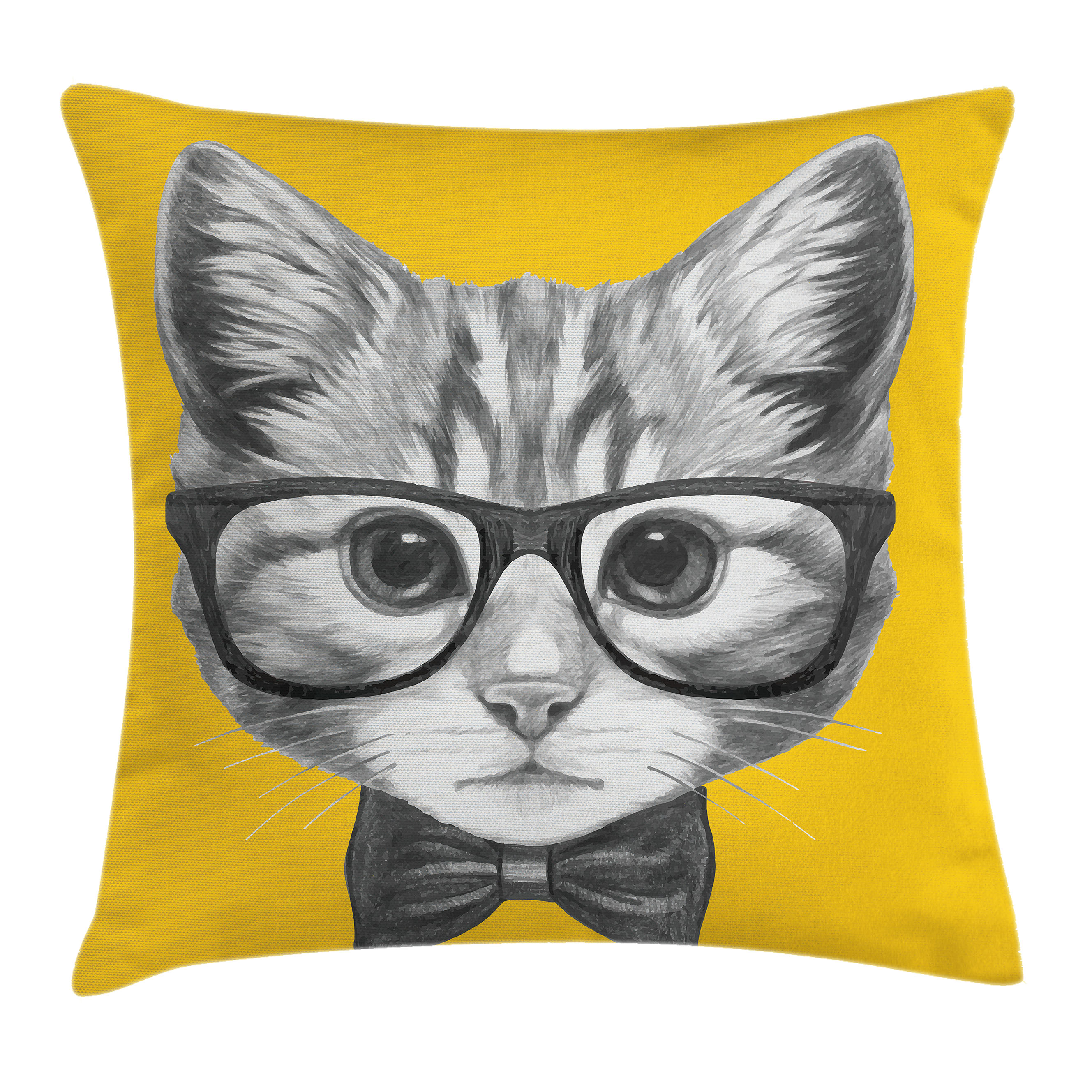 Animal Decor Throw Pillow Cushion Cover, Sketchy Hand Drawn Design Baby Hipster Cat Cute Kitten with Glasses Image, Decorative Square Accent Pillow Case, 16 X 16 Inches, Black and White, by Ambesonne