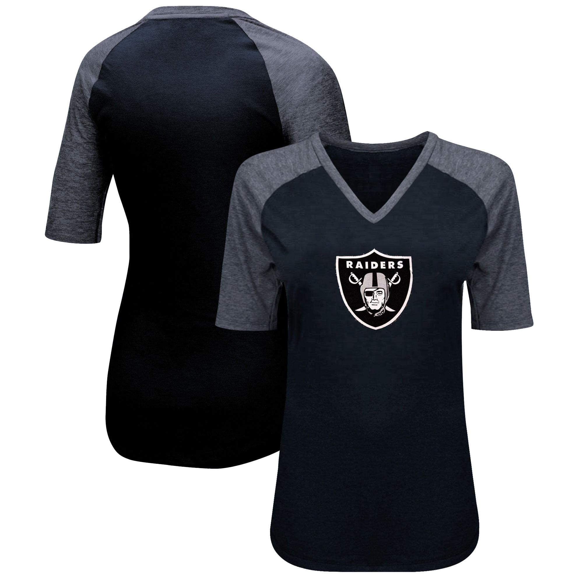 Oakland Raiders Majestic Women's Highlight Play Half Sleeve Raglan Plus Size T-Shirt - Black/Heathered Black