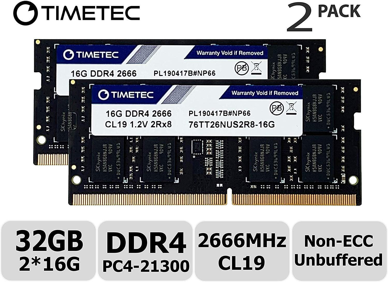 2x16GB DDR4 2666 MHz SODIMM 260-Pin PC4-21300 2Rx8 Dual Rank 1.2V CL19 Notebook Laptop RAM Memory Upgrade Modules A-Tech 32GB Kit