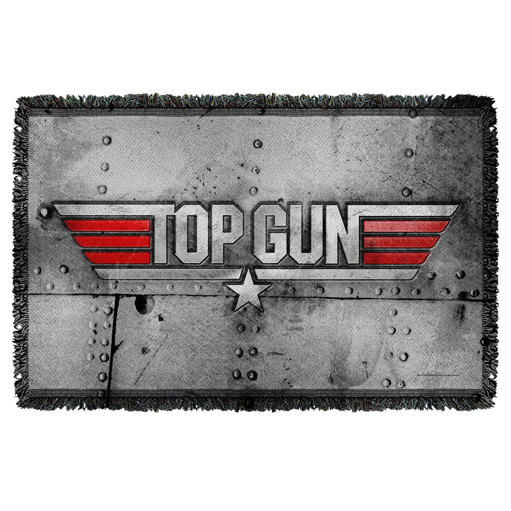 Top Gun Logo Woven Throw Tapestry 36X60 White One Size