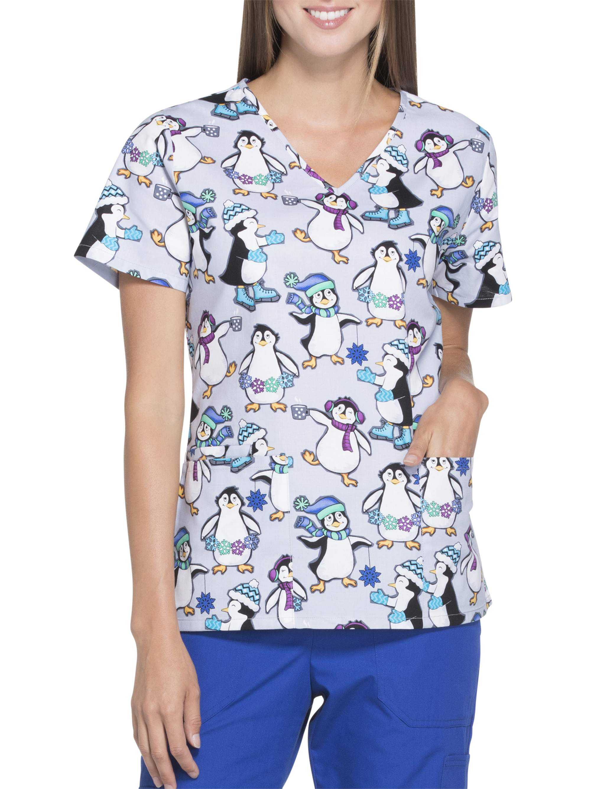 "Scrubstar Women's Fashion Collection ""Polar Penguins"" Printed Scrub Top"