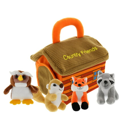 Plush Woodland Animals with Country House Carrier for Kids- 5pc- Talking Animal Interactive Toy Set- Stuffed Owl, Racoon, Fox &