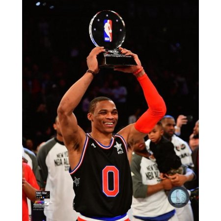 Russell Westbrook with the 2015 NBA All-Star Game MVP Trophy Photo - All Star Trophy