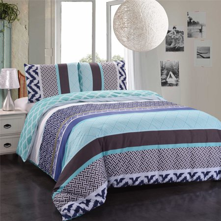 3-Piece Duvet Cover Set,Wrinkle Shrink Resistant,Printed Duvet Cover And Two Pillowcases-Skyblue &Mint, King ()