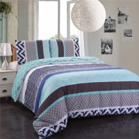 3-Piece Duvet Cover Set,Wrinkle Shrink Resistant,Printed Duvet Cover And Two Pillowcases-Skyblue &Mint, King