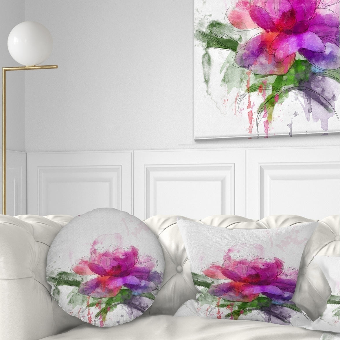 DESIGN ART Designart 'Purple Peony Illustration Sketch' Flowers Throw Pillowwork
