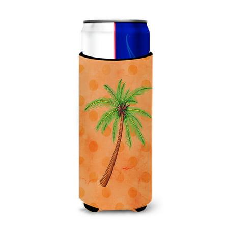 Palm Tree Orange Polkadot Michelob Ultra Hugger for slim cans BB8168MUK (Michelob Ultra Slim Can Koozie)