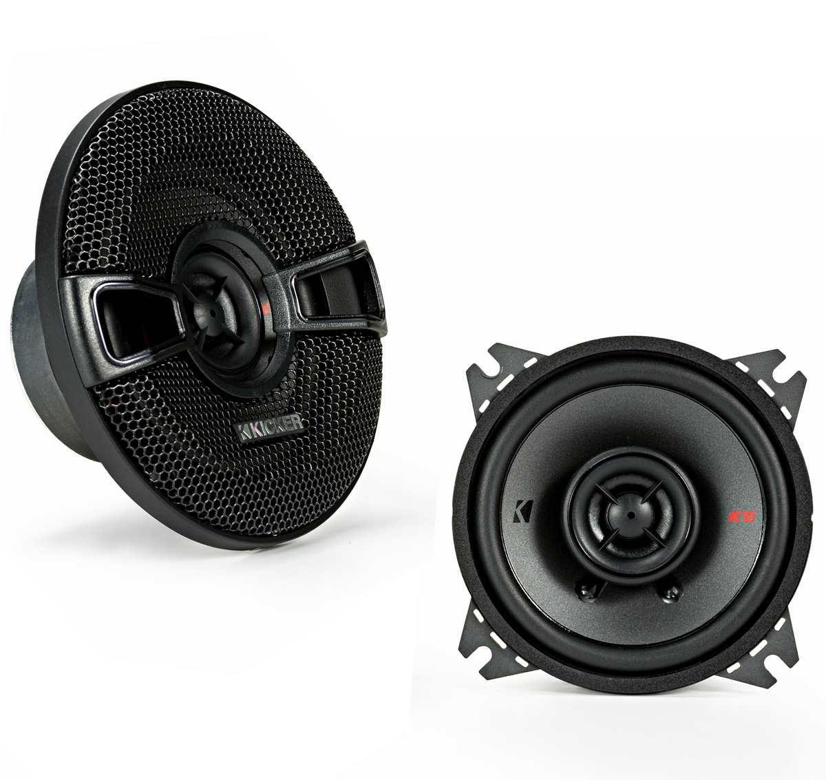 "KICKER 44KSC404 4"" (100mm) Coax Spkrs w/.5""(13mm) tweeters, 4ohm, RoHS Compliant"