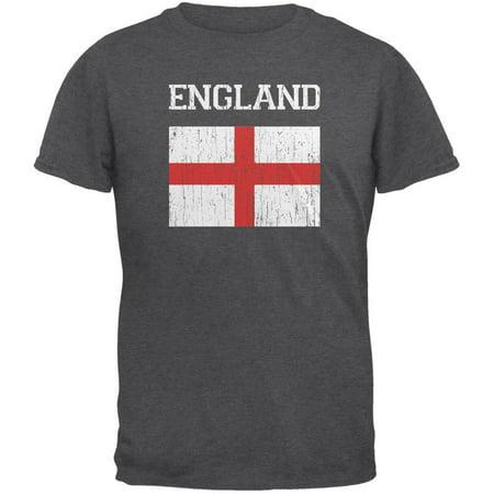 World Cup Distressed Flag England Dark Heather Adult T-Shirt ()