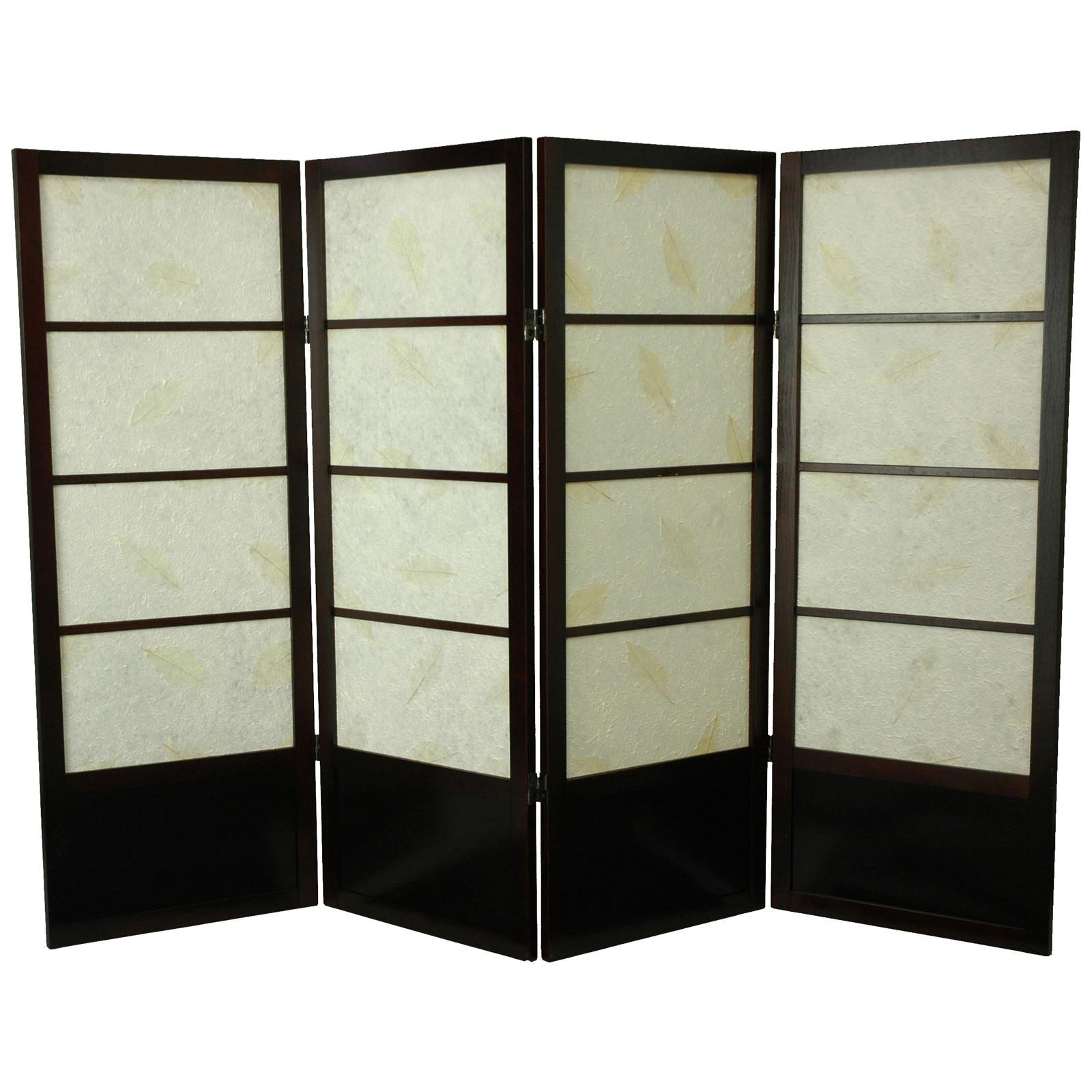 Oriental Furniture Low Botanic Shoji Screen Room Divider 48 Inch 6  Panels Walnut