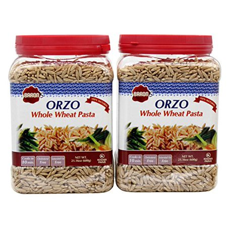 Baron's Kosher Orzo Whole Wheat Pasta 21.16-ounce Jar (Pack of 2) (Rice Orzo)