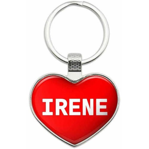 Irene - Names Female Metal Heart Keychain Key Chain Ring, Multiple Colors Available