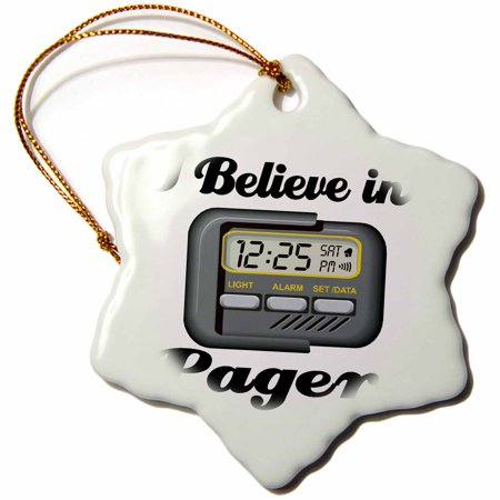 3dRose I Believe In Pagers, Snowflake Ornament, Porcelain, 3-inch