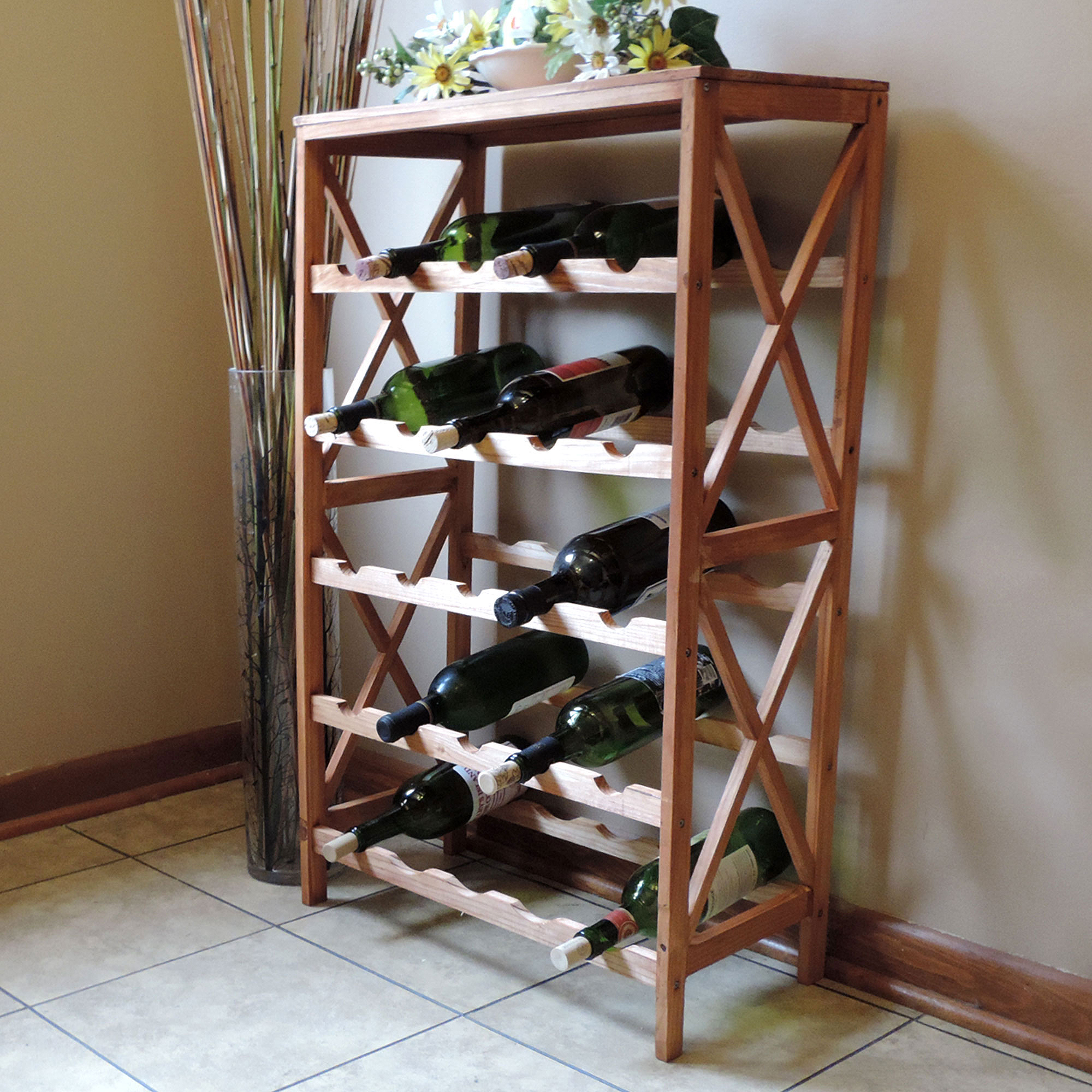 Rustic Wine Rack Space Saving Free Standing Wine Bottle Holder For Kitchen,  Bar, Dining Or Living Rooms  Classic Storage Shelf By Lavish Home    Walmart.com