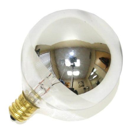 Satco S3244 - 25 Watt Candelabra Light Bulb - G16.5 Globe - Clear Silver Bowl - 1,500 Life Hours - 232 Lumens - 120 Volt (Silver Globe Bulb)