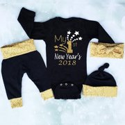 3PCS Newborn Baby Boys Girls Christmas Xmas Clothes Romper Pants Hat Outfits