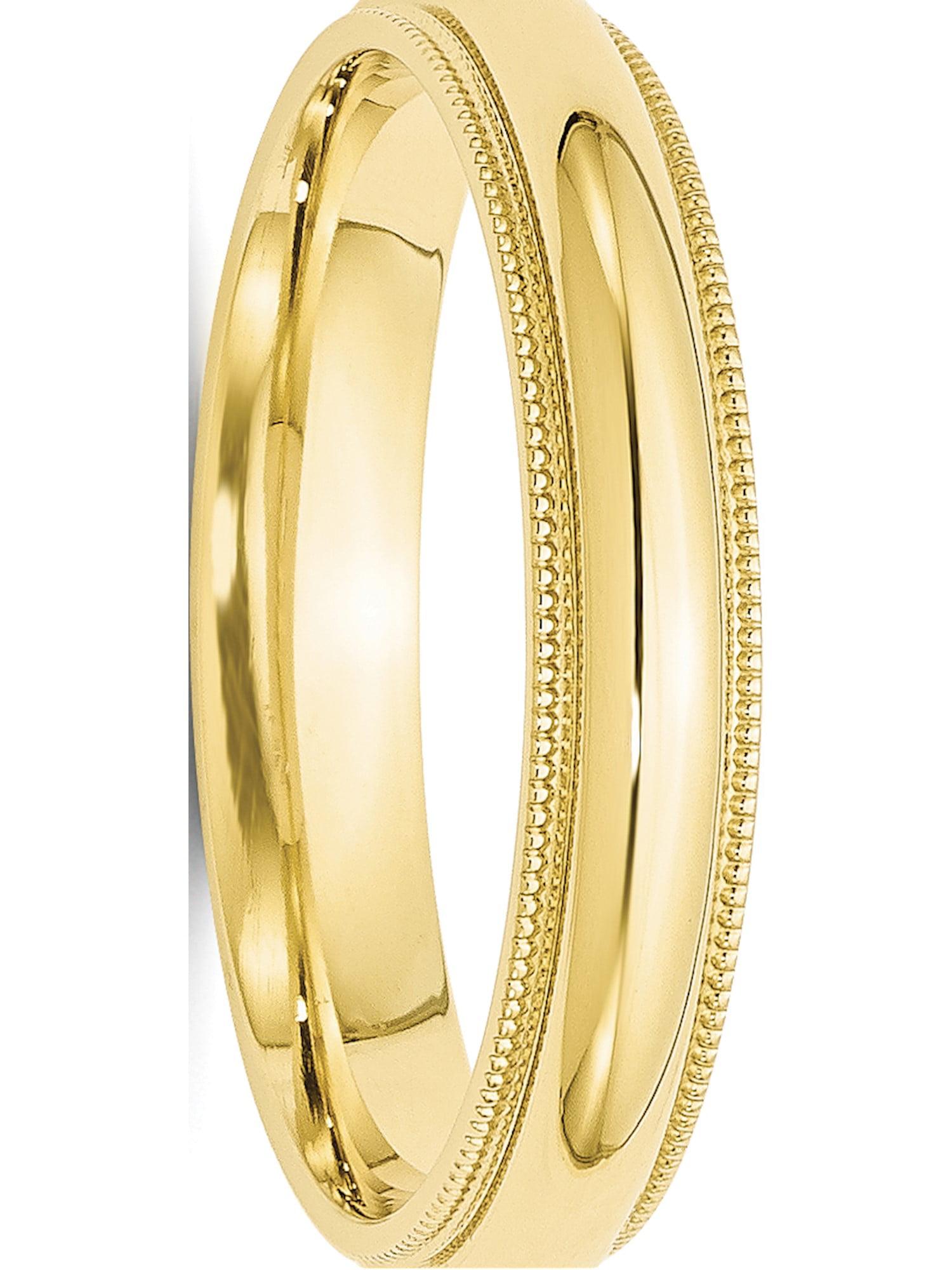 10k Yellow Gold 4mm Milgrain Comfort Fit Wedding Ring Band Size 4-14 Full /& Half Sizes
