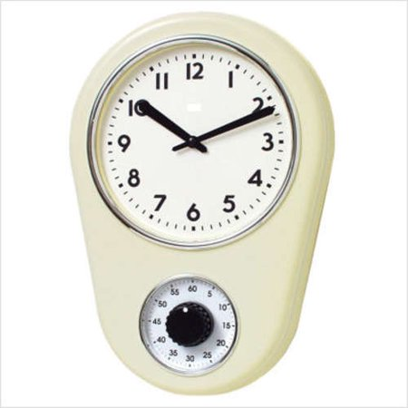Bai Design Kitchen Timer Retro Modern Wall Clock In Ivory