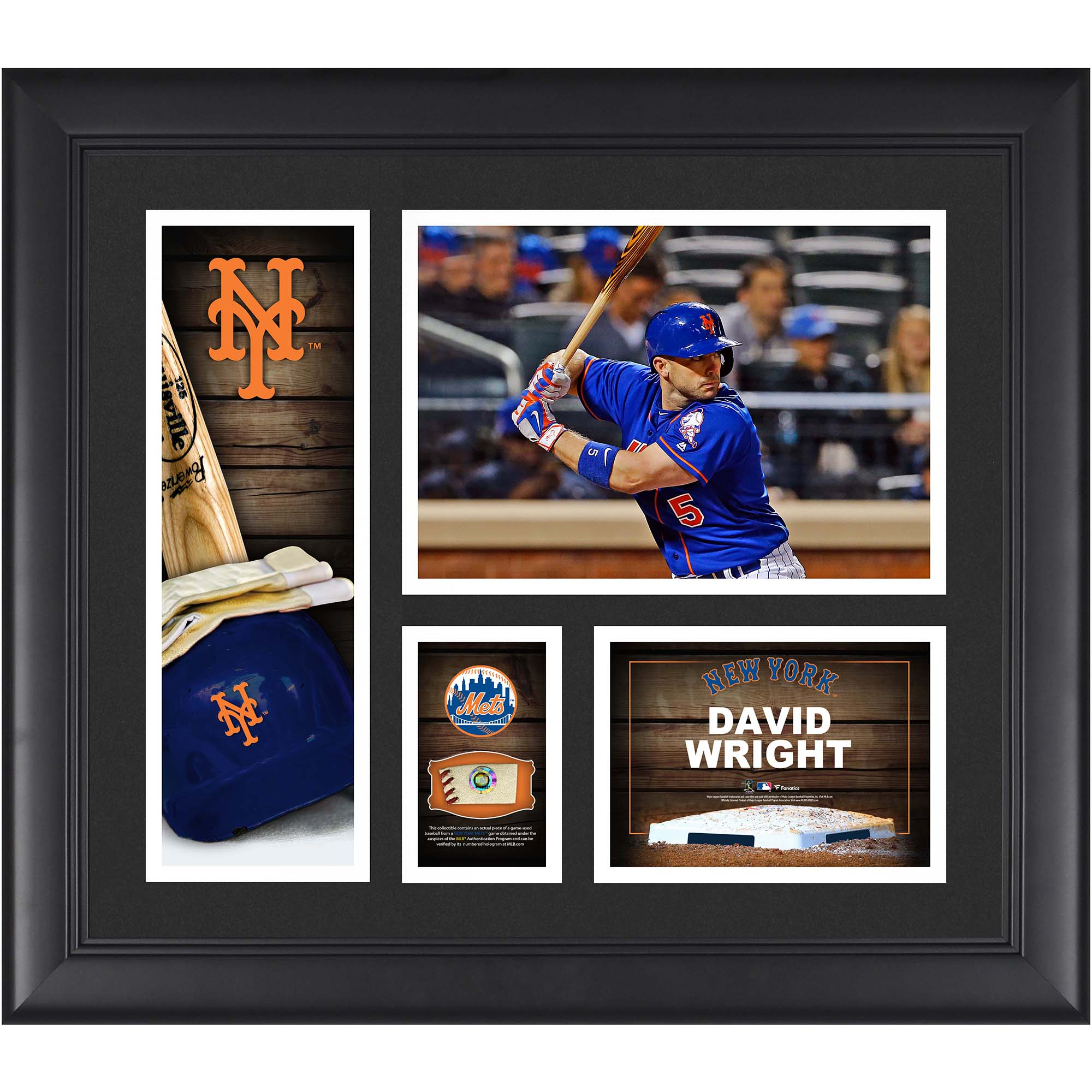 """David Wright New York Mets Fanatics Authentic Framed 15"""" x 17"""" Player Collage with a Piece of Game-Used Ball - No Size"""