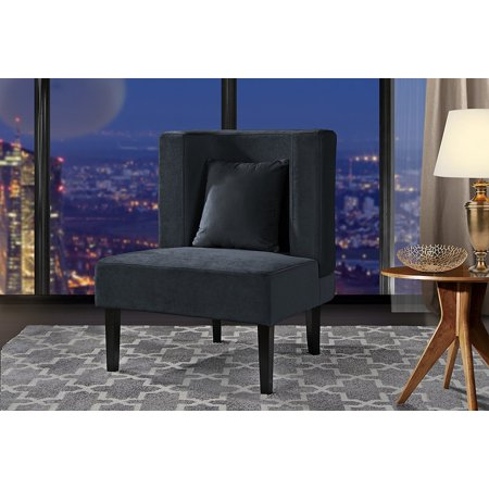 Accent Chair for Living Room, Upholstered Armless Velvet Chairs with Back Cushion and Natural Wooden Legs (Dark Grey) (Navy Upholstered Swivel Chair)