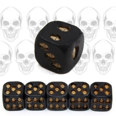 Girl12Queen 5Pcs Creative 6 Sided Skeleton Skull Resin Dice Halloween Festival Bar Game Toy