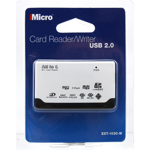 iMicro All-in-One External Card Reader with microSD Card Slot, White