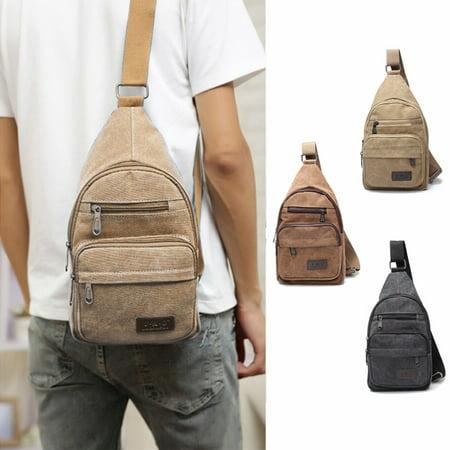 Men Woman Military Vintage Canvas Leather Satchel Shoulder Bag Messenger Travel Bag,Deep Brown -