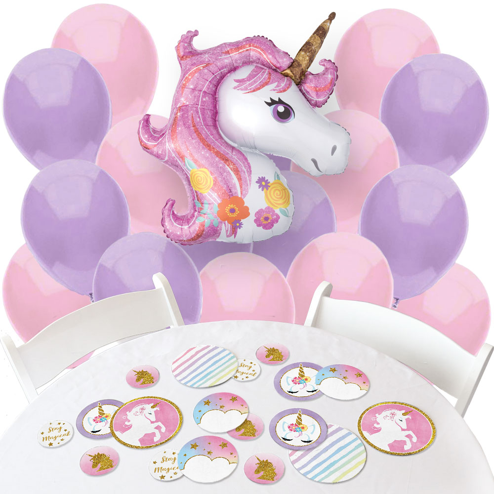 Rainbow Unicorn - Confetti and Balloon Magical Unicorn Baby Shower or Birthday Party Decorations - Combo Kit