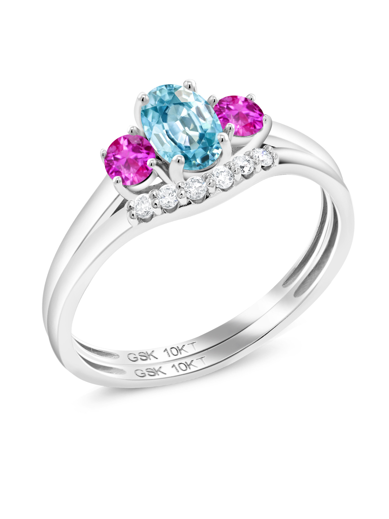 1.07 Ct Oval Blue Zircon Pink Sapphire 10K White Gold Lab Grown Diamond Ring by