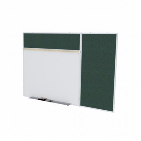 4 ft. x 8 ft. Style B Combination Unit - Porcelain Magnetic Whiteboard and Vinyl Fabric Tackboard - Ebony