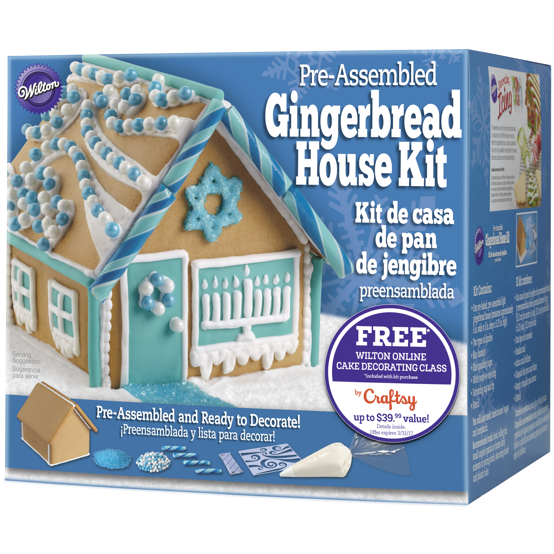 wilton pre baked assembled gingerbread house decorating kit hanukkah