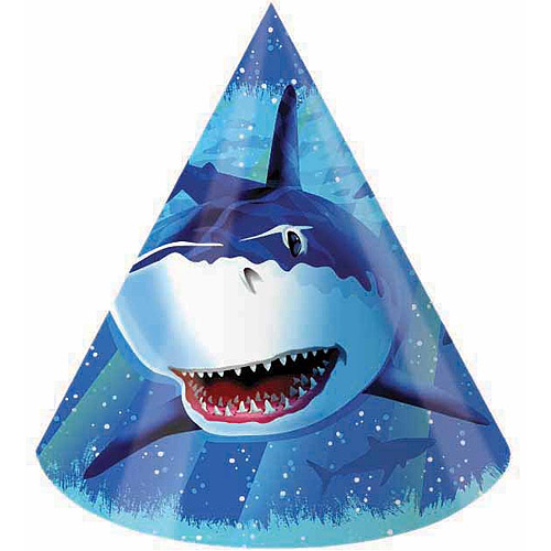 Creative Converting Shark Splash Party Hats, 8pk